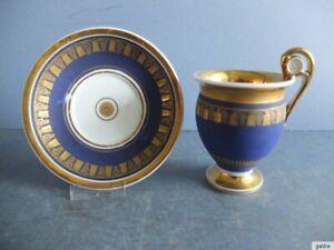 Alte Tasse mit Unterteller, Goldmalerei auf blauem Grund, Biedermeier um 1820/30