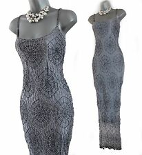 KAREN MILLEN Silver Gatsby 20's Spider Web Beaded Crochet Cocktail Dress 3 UK12