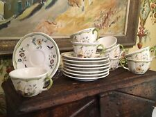 Vintage French Longchamp Moustiers Cups & Saucers Set of Eight Lovely