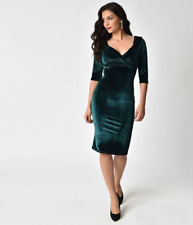 Rock Steady Forest Green Velvet Sleeved Diva Wiggle Dress S fits XS  NWT $84