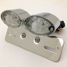 Universal Cat Eye Custom Motorcycle Tail Brake License Plate light CHROMED CLEAR