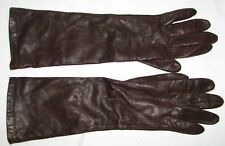 Miss Aris Vintage Long Silk Lined Brown Leather Gloves Size 7