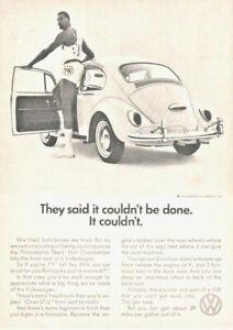 VOLKSWAGEN BEETLE vintage print ad from 1966 magazine Wilt Chamberlain classic
