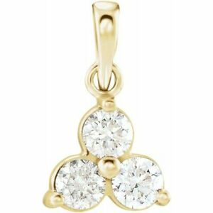 Diamond Three-Stone Pendant In 14K Yellow Gold (1/3 ct. tw