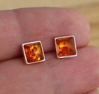 Cognac Baltic Amber 925 Sterling Silver Square Stud Earrings Jewellery