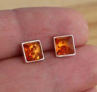 Cognac Baltic Amber 925 Sterling Silver Square Stud Earrings Jewellery