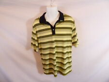 Men's GREG NORMAN Yellow Black Grey Striped Polo Casual T-shirt Sz M
