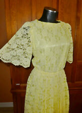 Vtg 80s Sheer Lemon Drop Scallop LACE Hand Made Boho Garden Party Midi DRESS