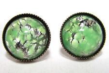SoHo® Ohrstecker vintage bohemia Glas green opal 1950´s handgemachtes Glas
