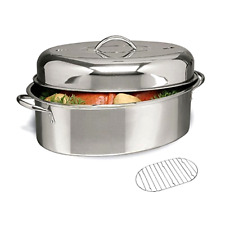 Stainless Nonstick Roasting Turkey Roaster Oven Steamer Cooking Pot Pan Kitchen