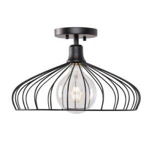 Kenroy Home Cagney 1-Light Black Semi-Flush Mount 93972BL