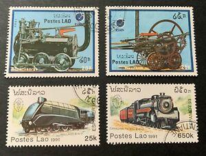 Laos 🇱🇦 1988 & 1991 locomotives - 4 canceled stamps