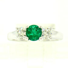 14k White Gold GIA Emerald & Diamond 3 Stone 1.50ctw Engagement Right Hand Ring