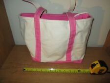 L.L. Bean Boat and Tote Canvas Bag Zipper Pink White - Very Nice - Fast Ship
