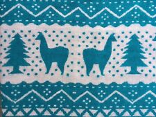 NEW BLANKET THROW YAK WOOL BLEND TURQUOISE BLUE LLAMA NEPAL HANDMADE MULTI-COLOR