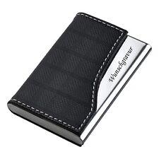 Visitenkartenetui Visitenkartenbox mit Gravur schwarz Lederoptik Metall graviert