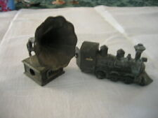 2VINTAGE METAL PENCIL SHARPENERS - TRAIN & GRAMAPHONE