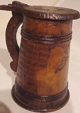 ANTIQUE ARTIST SIGNED GERMAN PYROGRAPHY HAND CARVED WOODEN STEIN TANKARD