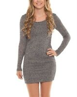 Coveted Clothing Knit Long Sleeve Round Neck Bodycon Mini Dress