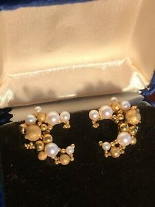Antique Estate Stunning 18k 750 Gold and Pearl Earrings Germany