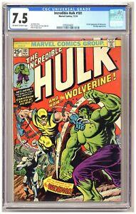 Incredible Hulk 181 (CGC 7.5) 1st full appearance of Wolverine Wendigo 1974 C705