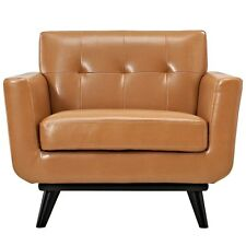 Mid-Cent. Modern Premium Leather-Soft* Tan Lounge Tufted Club Armchair