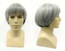 Bowl Cut Mens Heat Resistant Wig Beatles Short Straight Gray