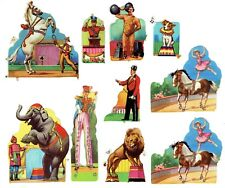 More details for 10 glitter assorted circus animals mamelok press mlp picture scraps 1950 vintage