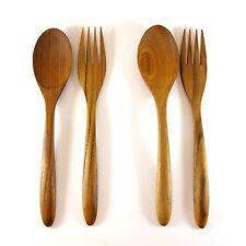 2 pairs Small Teak Wood Spoon Fork Serving Utensil Handmade Wedding Gift