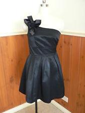 PRE LOVED CKM CAROLINE MORGAN SIZE S 8 BLACK DRESS ONE STRAP PLEATS TULLE LITTLE