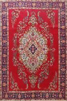 Vintage Hand-Knotted Traditional Floral Area Rug WOOL Oriental 7x10 RED Carpet