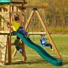Cool Wave Slide Kids Backyard Playset 80 in Garden Playground Equipment Green