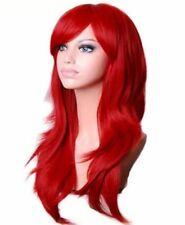 Damen Perücke Rot Glatt Wellenförmig lange Haare  28inch 70cm Kunsthaar Weinrot