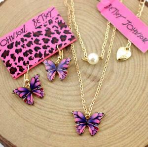 Set Enamel Jewelry Betsey Johnson Pendant rhinestone pearl butterfly necklaces