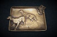 Antique ashtray, a pair of hunting dogs, bronze