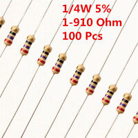 100Pcs 1/4W 0.25W Carbon Film Resistor ±5%  1 - 910 Ω Ohm 1R - 910R