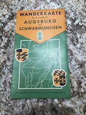 1964 Map of Augsburg Schwabmunchen Germany By Wanderkarte