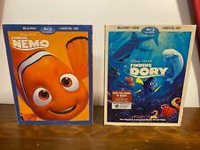 Finding Nemo & Dory Blu-Ray Dvd Digital Lot Complete Set Slipcovers Disney Pixar