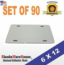 "90 Pieces ALUMINUM LICENSE PLATE SUBLIMATION BLANKS 6""x 12"" / PRINTING SUPPLIES"