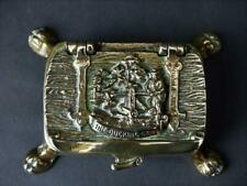 c 1900 + Solid Brass Table Snuff Box - The Ducking Stool in High Relief