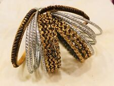 Pakistani Indian Traditional 18 Silver Gold Glass Bangles Ballet Bollywood 2.5
