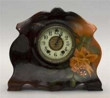 Weller Pottery Louwelsa Mantel Clock In cartouche form with rose decor. Lot 93