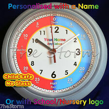 Childrens Kids Wall Clocks Learning and Teaching To Tell The Time Personalised