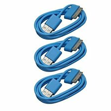 3X USB Sync Data Charging Charger Cable Cord for Apple iPhone 4 4S 3G 3GS - Blue