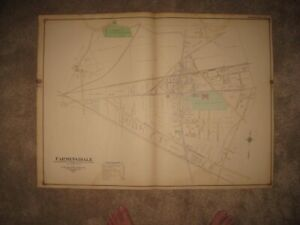 MASTERPIECE ANTIQUE 1917 SAYVILLE SUFFOLK COUNTY NEW YORK HANDCOLORED MAP FINE