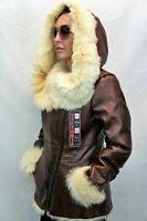 COGNAC CROCO 100% Long Hair Toscana Sheepskin Shearling Leather Jacket Coat S-6X