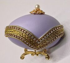 Egg Fantasy Real Egg Music Box & Trinket Box Crystals Gold Pearl Accents