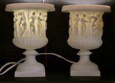 Paire De Lampes Veilleuses à l'Antique, Forme Médicis En Biscuit De Limoges, XX