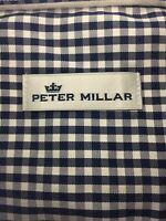 New Peter Millar Crown Soft Cotton & Silk Blue & White Check Shirt Size Large