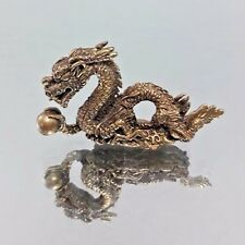 Brass Chinese Dragon Statue Vintage Animal Figurines Chinese Zodiac Fengshui B